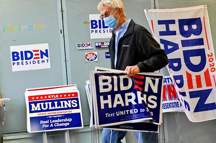 A supporter of Democratic presidential nominee Joe Biden and his vice presidential running mate, Sen. Kamala Harris of California, made a donation at the Lackawanna County Democratic Committee headquarters on Sept. 30 in Peckville, Pa.