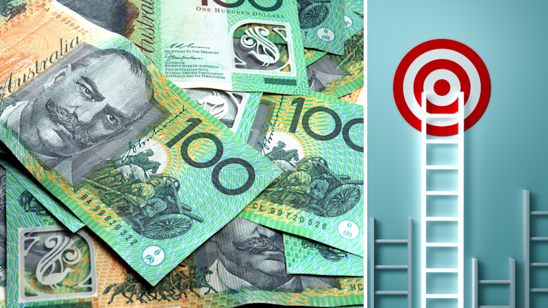 Australian dollars and ladder to a target. Source: Getty Images