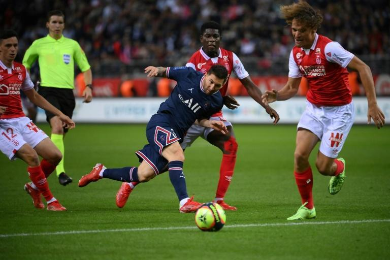 Lionel Messi made his PSG debut as a second-half substitute in their win at Reims in Ligue 1 on Sunday (AFP/FRANCK FIFE)