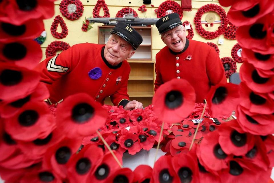 Chelsea Pensioners John Hellewell, right, and Barrie Davey take a look around the workshop during a visit to the Lady Haig's Poppy Factory in Edinburgh (Jane Barlow/PA) (PA Archive)