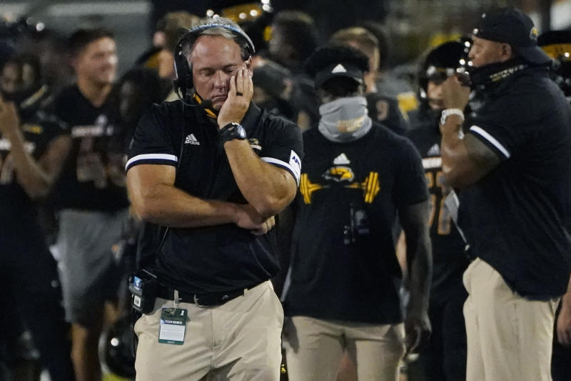 Southern Mississippi coach Jay Hopson reacts following a South Alabama touchdown during the first half on Thursday, a game the Golden Eagles woul lose. (AP Photo/Rogelio V. Solis)