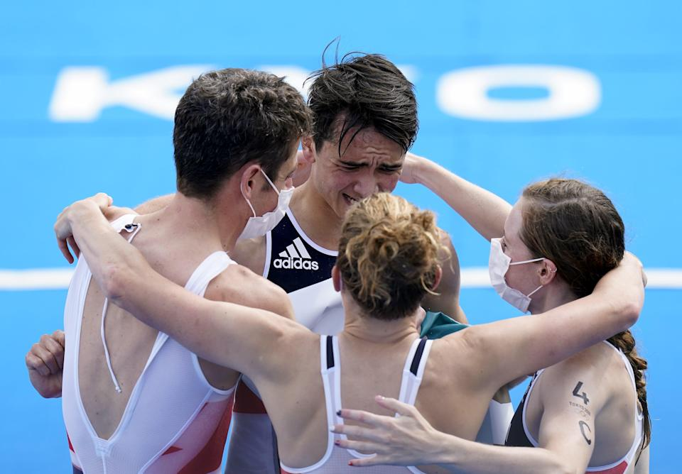 Great Britain's Jonathan Brownlee, Alex Yee, Jessica Learmonth and Georgia Taylor Brown celebrate gold (Danny Lawson/PA) (PA Wire)