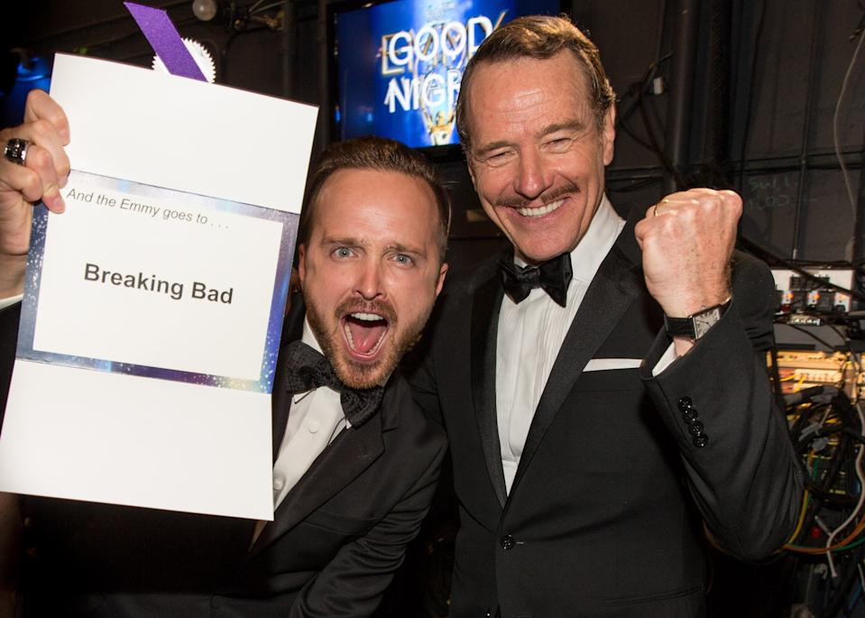 LOS ANGELES, CA - AUGUST 25:  66th ANNUAL PRIMETIME EMMY AWARDS -- Pictured: (l-r) Actors Aaron Paul and Bryan Cranston, winners of Outstanding Drama Series for 'Breaking Bad', pose during the 66th Annual Primetime Emmy Awards held at the Nokia Theater on August 25, 2014.  (Photo by Christopher Polk/NBC/NBC via Getty Images)