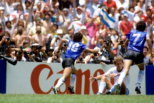 Diego Maradona celebrates during the 1986 World Cup
