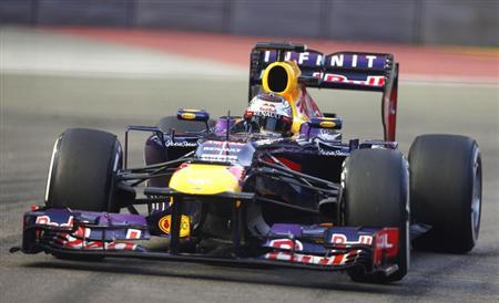 Red Bull Formula One driver Vettel drives during the third practice session of the Singapore F1 Grand Prix in Singapore