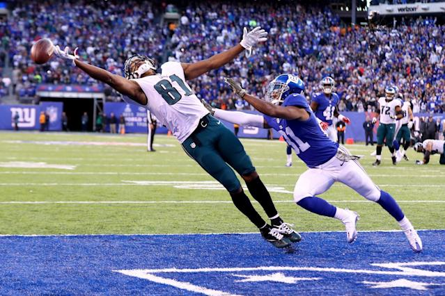 <p>Jordan Matthews #81 of the Philadelphia Eagles misses a catch in the end zone on 4th and 10 against Trevin Wade #31 of the New York Giants during the fourth quarter of the game at MetLife Stadium on November 6, 2016 in East Rutherford, New Jersey. (Photo by Al Bello/Getty Images) </p>