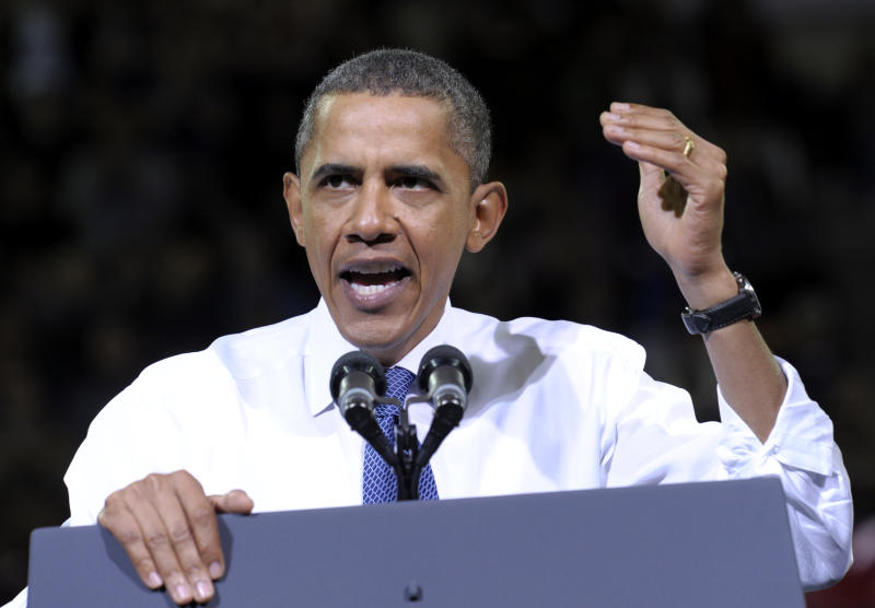 President Barack Obama speaks during a rally for Sen. Patty Murray, D-Wash., Thursday, Oct. 21, 2010, at the University of Washington in Seattle. (AP Photo/Susan Walsh)