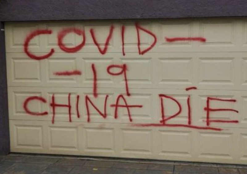 A Chinese-Australian family in Melbourne was targeted by vandals. Source: Nine News