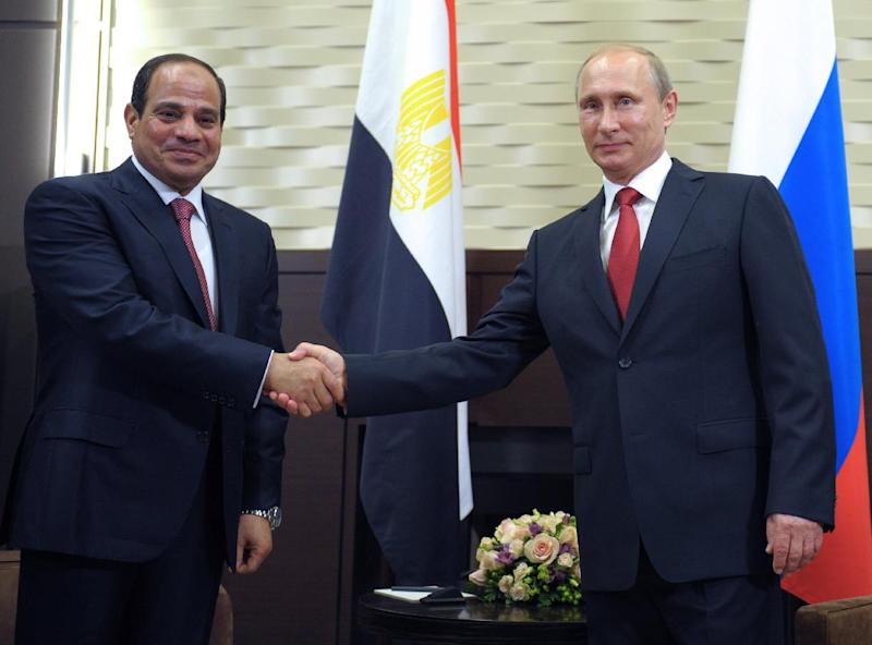 Russian President Vladimir Putin (R) shakes hands with his Egyptian counterpart Abdel Fattah al-Sisi (L) during their meeting at the Bocharov Ruchei residence in Sochi on August 12, 2014 during the Egyptian leader's first official visit to Russia (AFP Photo/Alexei Druzhinin)