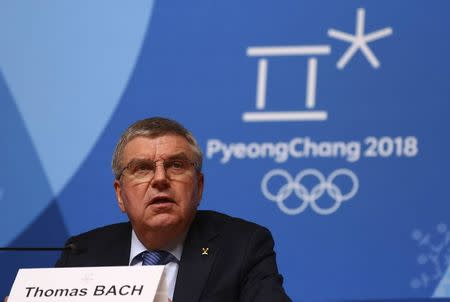 The International Olympic Committee President Thomas Bach holds a news conference following the IOC Executive Board meeting ahead of the the 2018 Winter Games in PyeongChang, South Korea, February 4, 2018. REUTERS/Ahmad Masood