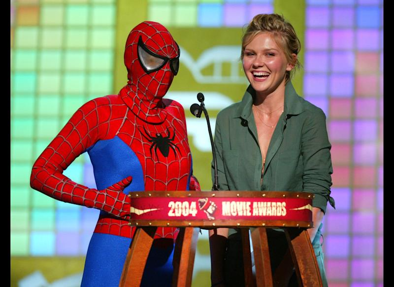 ... No, it's just Ellen dressed as Spider-Man while presenting at the 2004 MTV Movie Awards.
