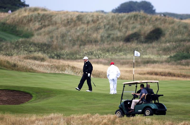 Projecting normalcy, Trump leaves the White House to go golfing in Virginia