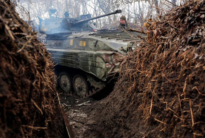 Image: A Ukrainian armored personal carrier (Anatolii Stepanov / AFP - Getty Images file)