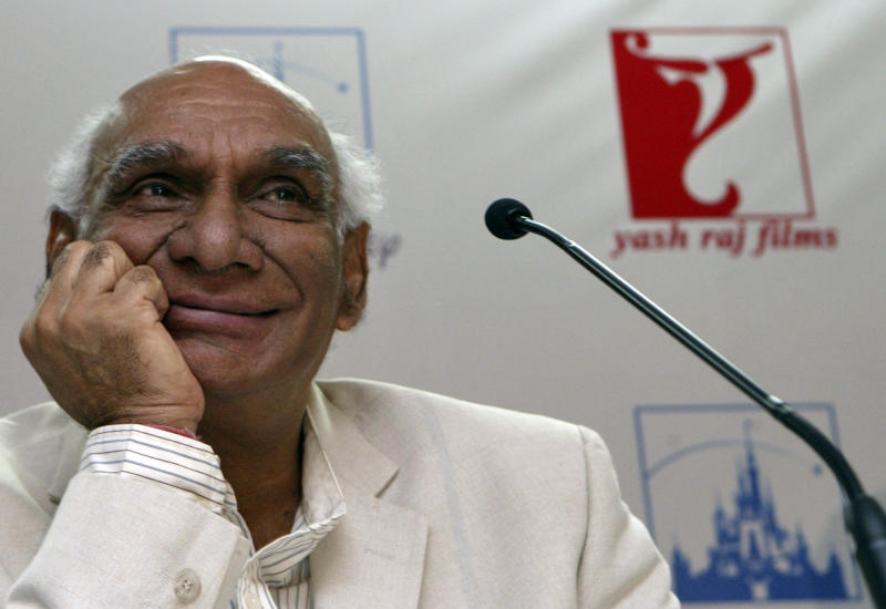FILE - In this June 12, 2007 file photo, Yash Chopra, chairman of Yash Raj Films, attends a press conference in Mumbai, India. Bollywood movie mogul Chopra died Sunday, Oct. 21, 2012 in Mumbai more than a week after he contracted dengue fever, a doctor said. He was 80. (AP Photo/Gautam Singh, File)