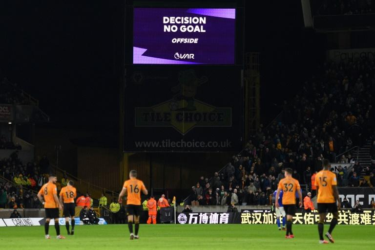 The scoreboard displays the decision disallowing a goal for Wolves against Leicester