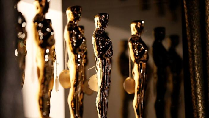 The Oscar statue backstage at the 88th Academy Awards on Feb. 28, 2016, in Hollywood.