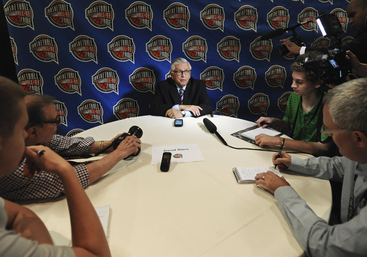 David Stern, a member of the 2014 class of inductees into the Basketball Hall of Fame, speaks to the media during a news conference at the Naismith Memorial Basketball Hall of Fame, Thursday, Aug. 7, 2014, in Springfield, Mass. (AP Photo/Jessica Hill)