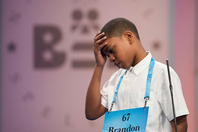 <p>Brandon Anderson of Mount Vernon, N.Y., misspells his word during the 90th Scripps National Spelling Bee in Oxon Hill, Md., Wednesday, May 31, 2017. (AP Photo/Cliff Owen) </p>