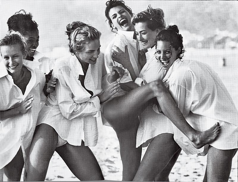 """Another Kind of Beauty..."" with models, from left: Estelle Lefébure, Karen Alexander, Rachel Williams, Linda Evangelista, Tatjana Patitz, and Christy Turlington"