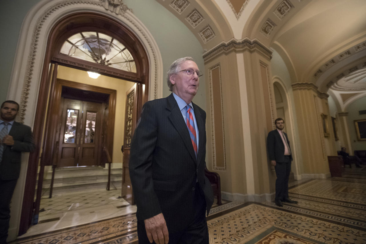 "<p> Senate Majority Leader Mitch McConnell of Ky. leaves the Senate chamber on Capitol Hill in Washington, Thursday, July 27, 2017, after a vote as the Republican majority in Congress remains stymied by their inability to fulfill their political promise to repeal and replace ""Obamacare"" because of opposition and wavering within the GOP ranks. (AP Photo/J. Scott Applewhite) </p>"