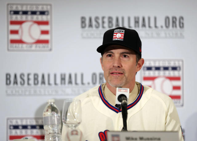 Baseball Hall of Fame inductee Mike Mussina speaks during news conference Wednesday, Jan. 23, 2019, in New York. (AP Photo/Frank Franklin II)