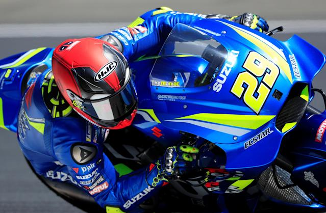 Motorcycling - MotoGP - French Grand Prix - Bugatti Circuit, Le Mans, France - May 19, 2018 Team Suzuki Ecstar's Andrea Iannone during practice REUTERS/Gonzalo Fuentes