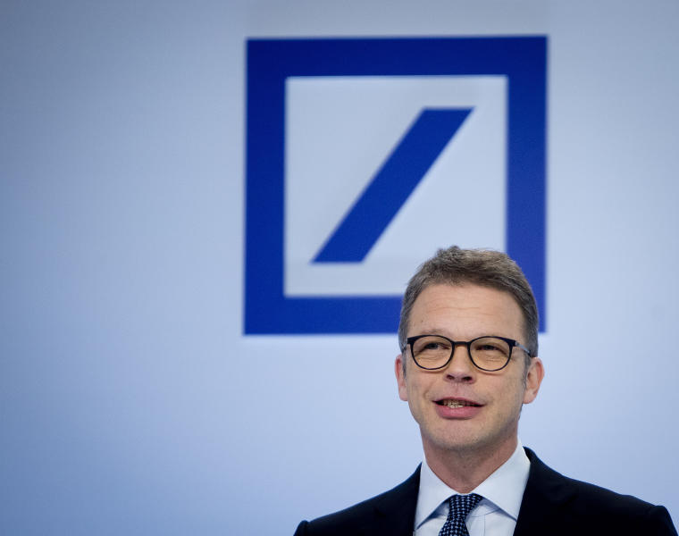 CEO of Deutsche Bank Christian Sewing speaks during the annual press conference in Frankfurt, Germany, Friday, Feb. 1, 2019. (AP Photo/Michael Probst)
