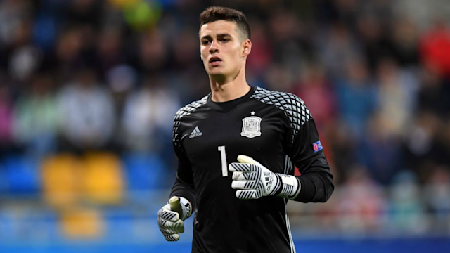 Kepa Arrizabalaga in a Spain U21 match