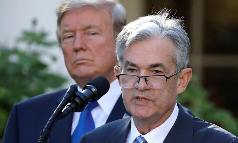 Donald Trump and Jerome Powell, chair of the Federal Reserve, at the White House on 2 November 2017.
