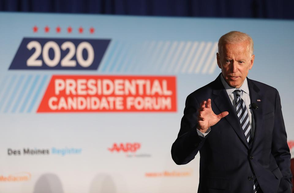DES MOINES, IOWA - JULY 15: Democratic presidential candidate former U.S. Vice President Joe Biden speaks during the AARP and The Des Moines Register Iowa Presidential Candidate Forum at Drake University on July 15, 2019 in Des Moines, Iowa. Twenty Democratic presidential candidates are participating in the forums that will feature four candidate per forum, to be held in cities across Iowa over five days. (Photo by Justin Sullivan/Getty Images)