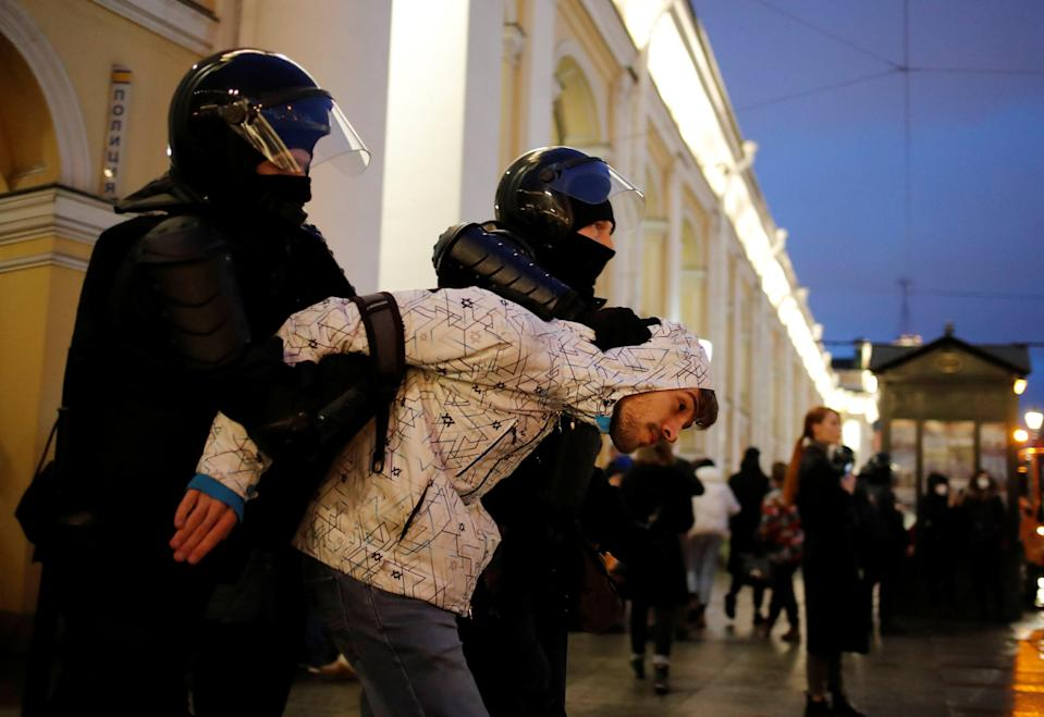 <p>Protests in Russia today</p> (Reuters)