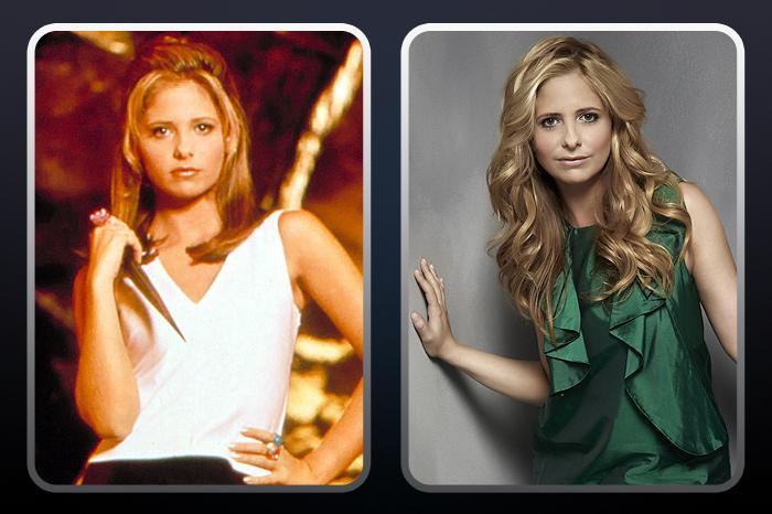 "<a href=""/sarah-gellar/contributor/29355"">Sarah Michelle Gellar</a> (""Buffy Summers"") — THEN: As the title character in the television adaption, Buffy moves to Sunnydale in the pilot for a fresh start. But her duties as the slayer follow her there as she surrounds herself with a team of friends known as the Scooby Gang to help her save the world from vampires and other supernatural big bads. // NOW: After taking a break from television, she continued her film career with the Scooby-Doo and Grudge movies, got married and had a baby. Gellar is now back in an equally power-packed role on The CW's ""<a href=""/ringer/show/47458"">Ringer</a>,"" playing estranged twins Bridget and Siobhan in the noir thriller."