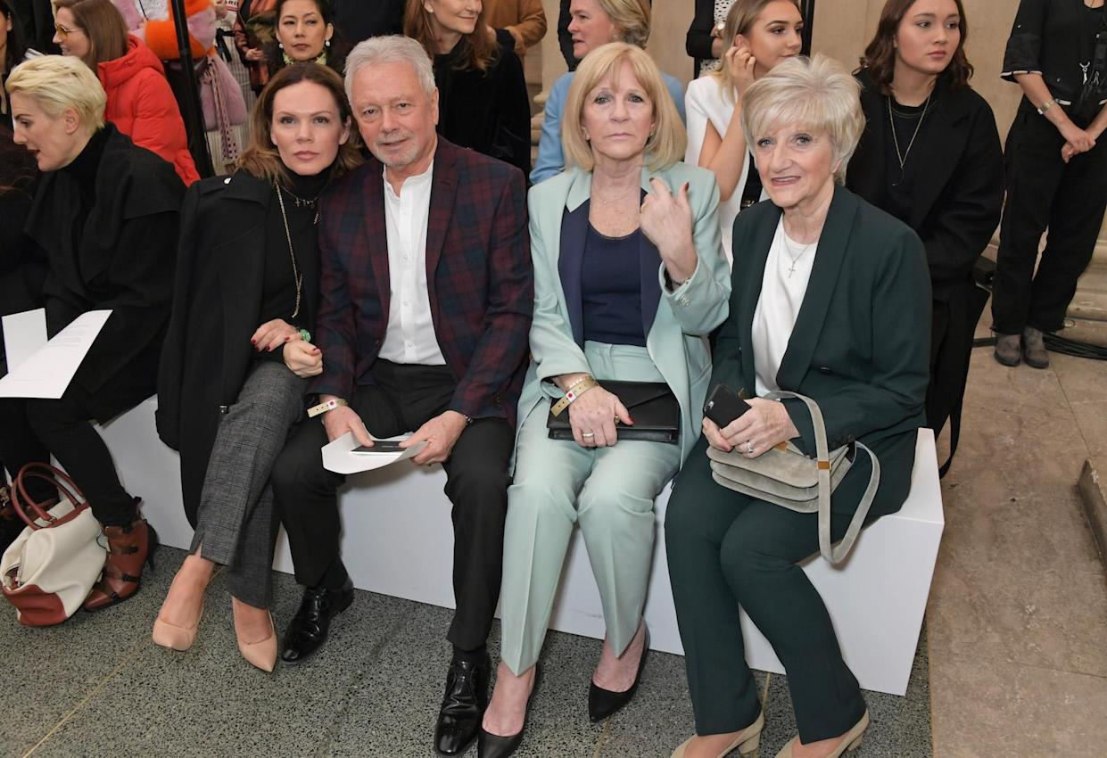 Louise Adams, Tony Adams, Jackie Adams and Sandra Georgina West (David Beckham's mother) also bagged the best seats in the house for the AW19 show [Photo: Getty]