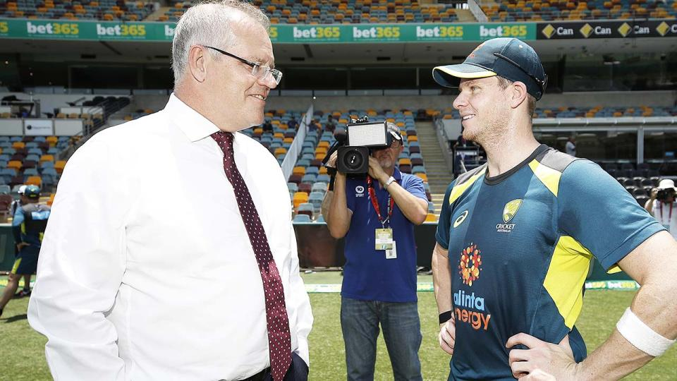 Scott Morrison and Steve Smith, pictured here ahead of the 2019/20 summer of cricket.