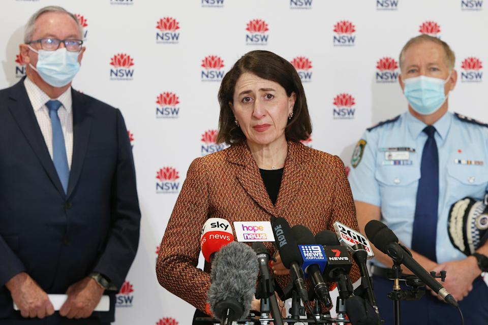 NSW Premier Gladys Berejiklian speaks during a COVID-19 update and press conference on July 26, 2021 in Sydney, Australia.