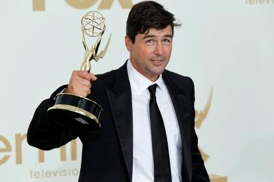 Kyle Chandler celebrates his win in press room during the 63rd Primetime Emmy Awards at the Nokia Theatre L.A. Live in Los Angeles on September 18, 2011  -- WireImage