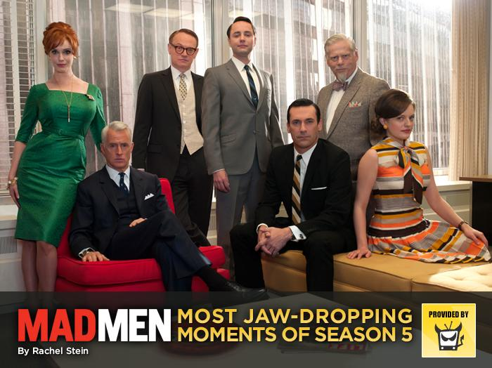 "The fifth season of ""Mad Men"" delivered some of the series' most shocking, twisted moments -- and it didn't even include any John Deere lawn mowers or interoffice affairs. Take a look back at the very best of the Sterling Cooper Draper Pryce craziness -- it's no wonder we felt like we needed a stiff drink almost every week.<br><br>— <a href=""http://www.televisionwithoutpity.com/?__source=tw%7Cyhtv&par=yhtv"">Television Without Pity</a><br><p></p>"