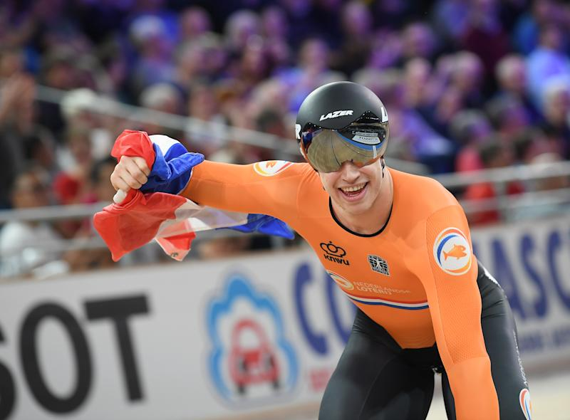 27 February 2020, Berlin: Cycling/Track: World Championship, Keirin Men, Final: Harrie Lavreysen from the Netherlands cheers for his victory at the finish. Photo: Sebastian Gollnow/dpa (Photo by Sebastian Gollnow/picture alliance via Getty Images)