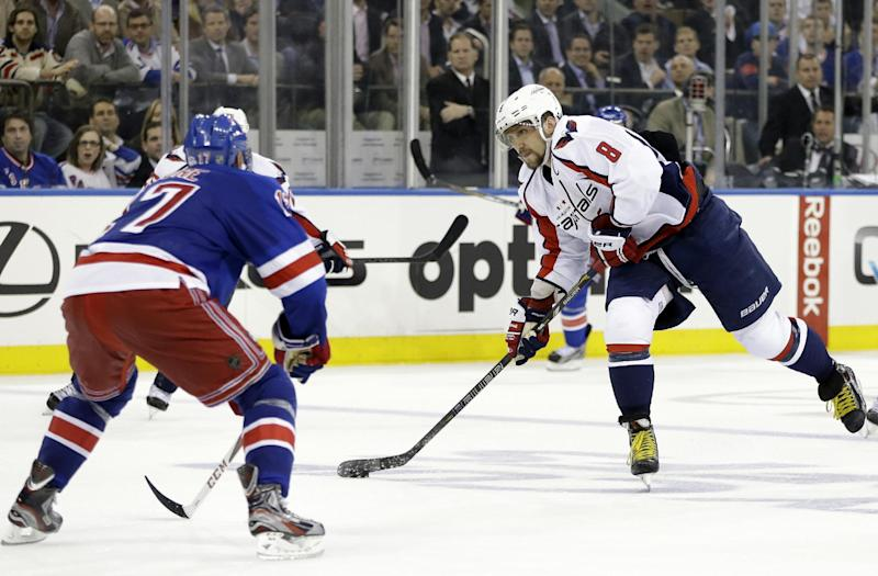 Washington Capitals left wing Alex Ovechkin (8), of Russia, shoots past New York Rangers defenseman John Moore (17) in the third period of Game 4 of their first-round NHL hockey Stanley Cup playoff series in New York, Wednesday, May 8, 2013. The Rangers won 4-3. (AP Photo/Kathy Willens)