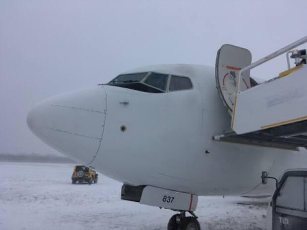 The jet came to a rest in the snow about 91 metres beyond the end of the runway. There was no damage to the plane.