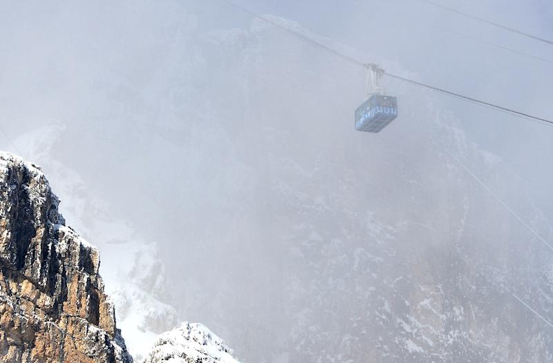 A cable car in the Dolomites mountains on January 19, 2015