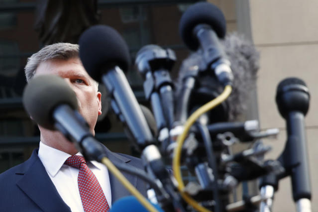 <p>Kevin Downing, with the defense team for Paul Manafort, approaches the microphones to speak briefly to the media outside of federal court after the third day of jury deliberations in the trial of the former Donald Trump campaign chairman, in Alexandria, Va., Monday, Aug. 20, 2018. (Photo: Jacquelyn Martin/AP) </p>