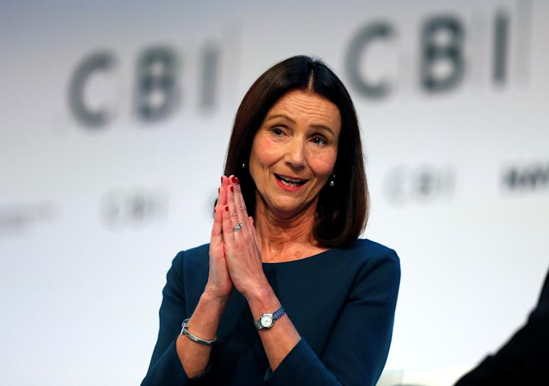 "CBI Director General, Carolyn Fairbairn speaks at the annual Confederation of British Industry (CBI) conference in central London, on November 19, 2018. - British Prime Minister Theresa May on Monday defended her draft Brexit deal to business leaders ahead of ""intense negotiations"" with Brussels in the coming week. May told the Confederation of British Industry, the UK's main business lobby group, that she is confident of striking a deal at the European Council in the run-up to Sunday's summit to sign Britain's divorce papers. (Photo by ADRIAN DENNIS / AFP) (Photo credit should read ADRIAN DENNIS/AFP/Getty Images)"