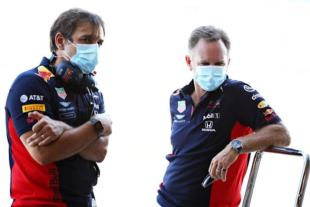 "El director de Red Bull, Christian Horner y Pierre Wache, jefe de ingeniería <span class=""copyright"">Red Bull Content Pool</span>"