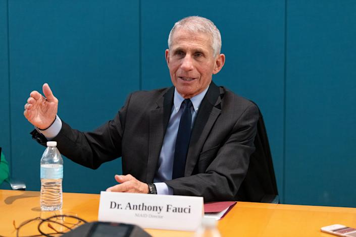 Dr. Anthony Fauci, director of the National Institute of Allergy and Infectious Diseases, speaks to the USA TODAY Editorial Board on Monday, Feb. 17, 2020. -- Photo by Hannah Gaber, USA TODAY Staff ORG XMIT: HG 138551 Anthony Fauci 02/17/2020 [Via MerlinFTP Drop]