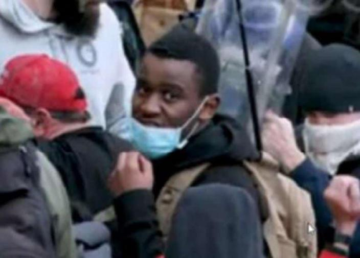 Emanuel Jackson, the black Trump supporter that was spotted at the Capitol riots on January 6.<br>Photo: Twitter