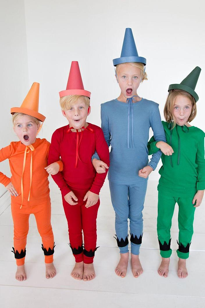 """<p>With a group costume this fun and simple, your family's primary concern will be selecting their favorite color. </p><p><strong>Get the tutorial at <a href=""""https://thehousethatlarsbuilt.com/2015/10/the-day-the-crayons-quit-costumes.html/"""" rel=""""nofollow noopener"""" target=""""_blank"""" data-ylk=""""slk:The House Lars Built"""" class=""""link rapid-noclick-resp"""">The House Lars Built</a>.</strong></p><p><strong><a class=""""link rapid-noclick-resp"""" href=""""https://www.amazon.com/Leveret-Pajamas-Orange-Pajama-Cotton/dp/B07HFJ1VBB/ref=sr_1_5?dchild=1&tag=syn-yahoo-20&ascsubtag=%5Bartid%7C10050.g.32906192%5Bsrc%7Cyahoo-us"""" rel=""""nofollow noopener"""" target=""""_blank"""" data-ylk=""""slk:Shop Solid Color Kid Pajamas"""">Shop Solid Color Kid Pajamas</a> <br></strong></p>"""