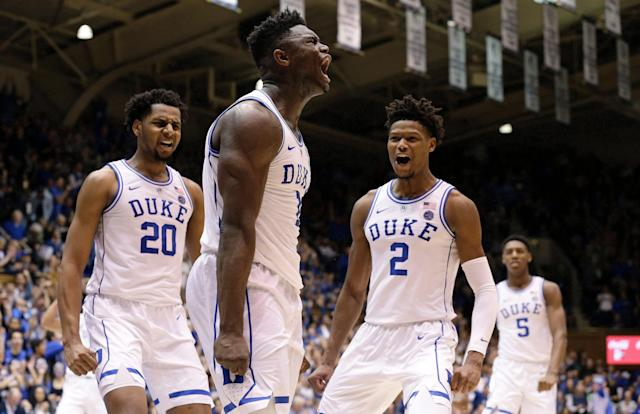 After struggling in the shadow of Zion Williamson, Cam Reddish, right, hopes to showcase his skills in the NBA. (AP)