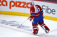 Montreal Canadiens goaltender Carey Price skates away from his net following a goal by Tampa Bay Lightning's Tyler Johnson during the second period of Game 3 of the NHL hockey Stanley Cup Final, Friday, July 2, 2021, in Montreal. (Paul Chiasson/The Canadian Press via AP)