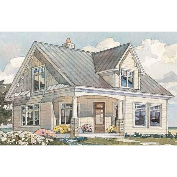 """<p>Cedar shingles and wooden brackets accent the peaked gables of this 1,184-square-foot home, while details like decorative wood paneling below the windows, a standing seam metal roof, and the stone chimney add crowning touches. The heart of this cottage is the galley-style kitchen and casual dining area thoughtfully designed as one integrated space. Windows let natural light fill the room and offer views at every turn. A deep front porch and screened porch off of the rear of the home make outdoor spaces a natural extension of the home. The second level offers two spacious bedrooms and a full bath.</p> <p><a href=""""http://houseplans.southernliving.com/plans/SL595"""" rel=""""nofollow noopener"""" target=""""_blank"""" data-ylk=""""slk:View this house plan"""" class=""""link rapid-noclick-resp"""">View this house plan</a>. </p>"""